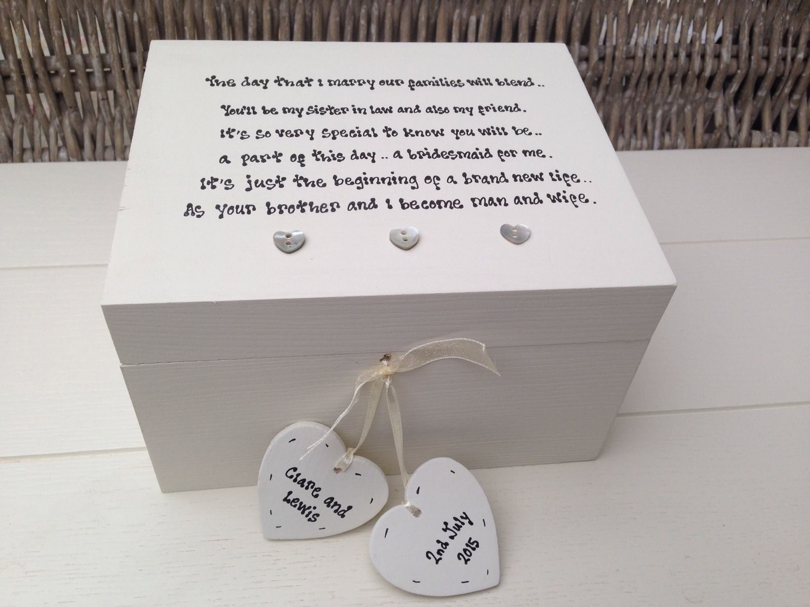 Personalised Wedding Gifts Uk: Shabby Personalised Chic Bridesmaid Sister In Law Wedding